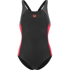 arena Ren One Piece Swimsuit Girls black-deep grey-fluo red
